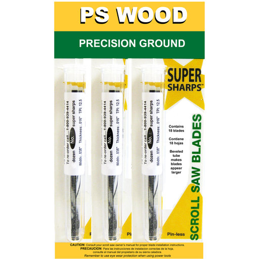 View a Larger Image of Super Sharps Variety Pack Scroll Saw Blade #7 x #5 x #9 Skip Tooth 6 Pack