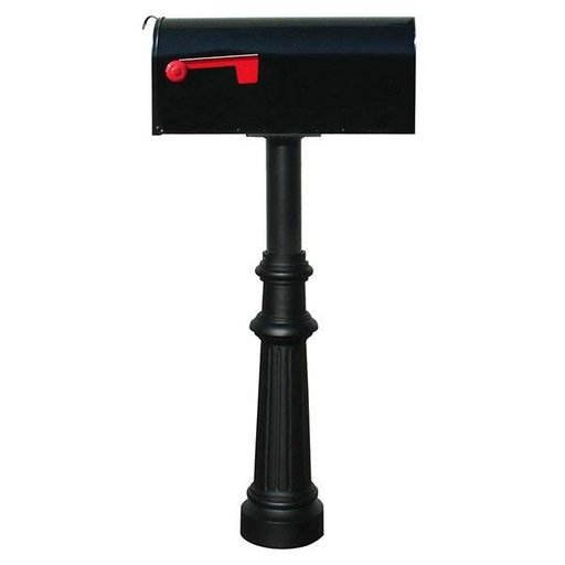 View a Larger Image of Economy Mailbox with Hanford Post and Fluted Base, Black