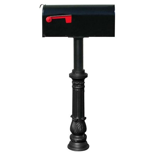 View a Larger Image of Economy Mailbox with Hanford Post and Ornate Base, Black