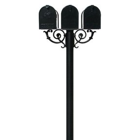 Economy Mailboxes with Hanford Triple Post and Support Braces, Black