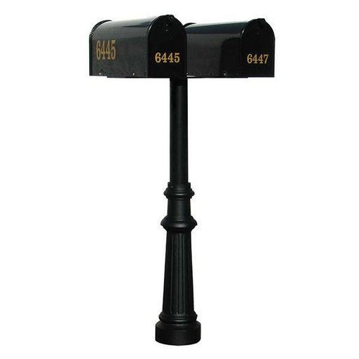 View a Larger Image of Economy Mailboxes with Hanford Twin Post and Fluted Base, Black