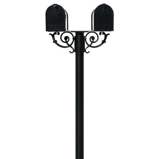View a Larger Image of Economy Mailboxes with Hanford Twin Post and Support Braces, Black