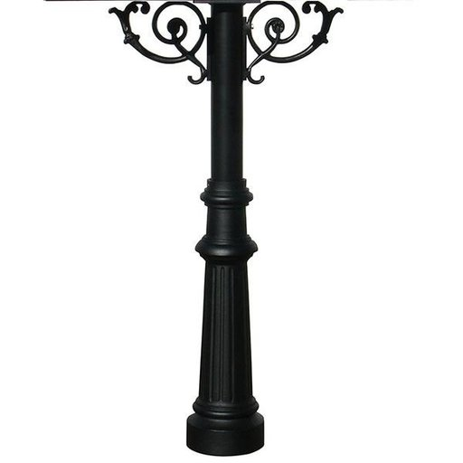View a Larger Image of Hanford Quadruple Post with Support Braces and Fluted Base, Black