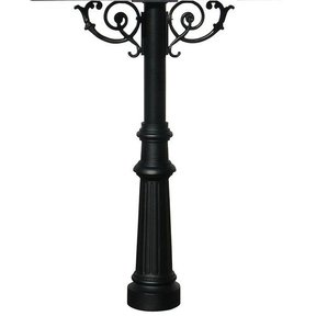 Hanford Quadruple Post with Support Braces and Fluted Base, Black