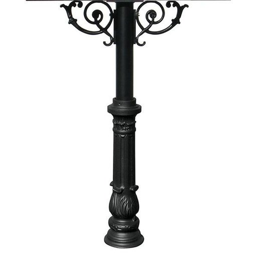 View a Larger Image of Hanford Quadruple Post with Support Braces and Ornate Base, Black