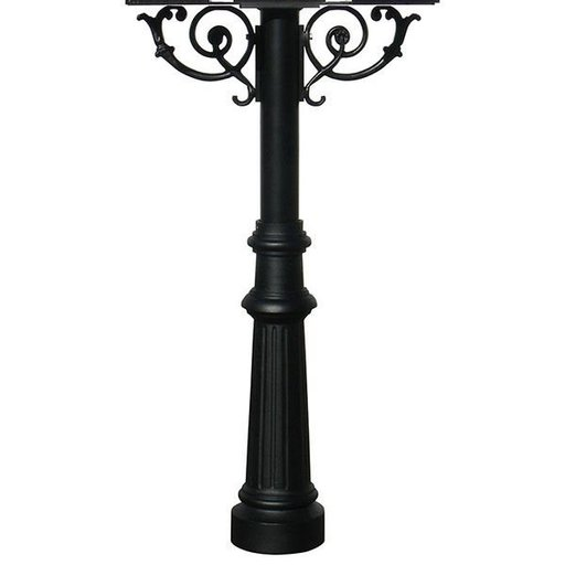 View a Larger Image of Hanford Triple Post with Support Braces and Fluted Base, Black