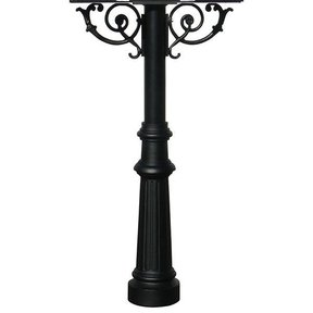Hanford Triple Post with Support Braces and Fluted Base, Black