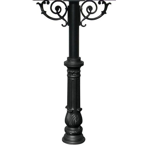 View a Larger Image of Hanford Triple Post with Support Braces and Ornate Base, Black