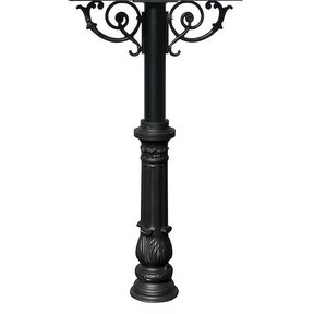Hanford Triple Post with Support Braces and Ornate Base, Black