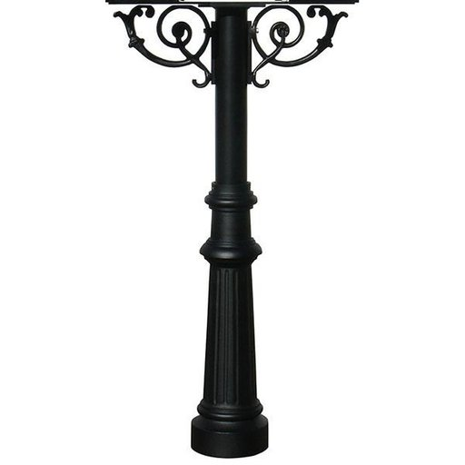 View a Larger Image of Hanford Twin Post with Support Braces and Fluted Base, Black