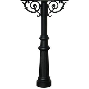 Hanford Twin Post with Support Braces and Fluted Base, Black