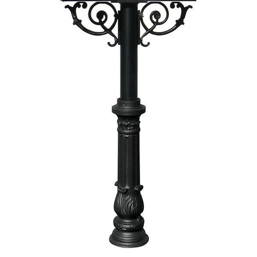 View a Larger Image of Hanford Twin Post with Support Braces and Ornate Base, Black