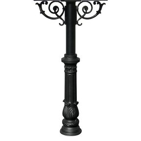 Hanford Twin Post with Support Braces and Ornate Base, Black