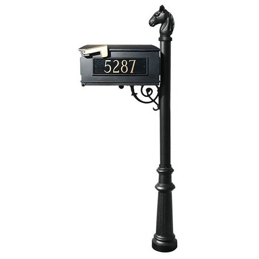 View a Larger Image of Lewiston Equine Mailbox with Post, Horsehead Finial, and Fluted Base, Black with Gold Lettering