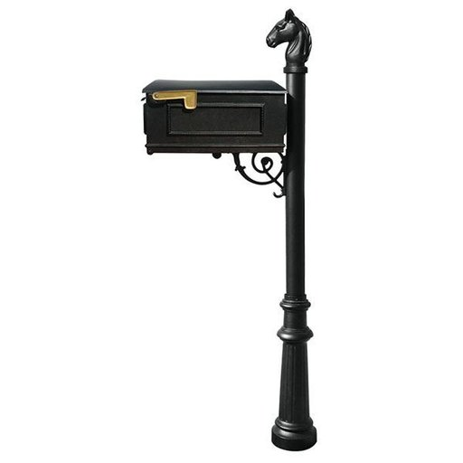 View a Larger Image of Lewiston Equine Mailbox with Post, Horsehead Finial, and Fluted Base, Black