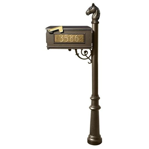 View a Larger Image of Lewiston Equine Mailbox with Post, Horsehead Finial, and Fluted Base, Bronze with Gold Lettering