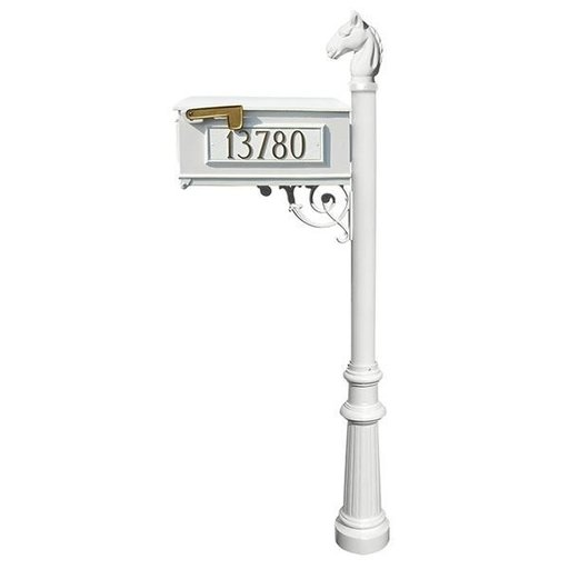 View a Larger Image of Lewiston Equine Mailbox with Post, Horsehead Finial, and Fluted Base, White with Gold Letter