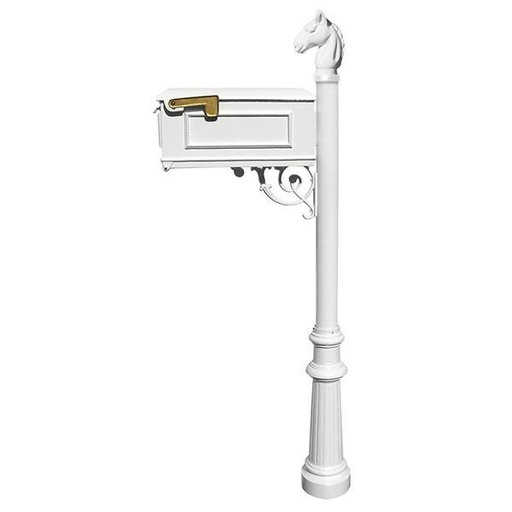 View a Larger Image of Lewiston Equine Mailbox with Post, Horsehead Finial, and Fluted Base, White