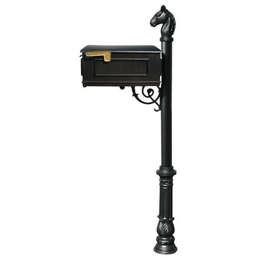 View a Larger Image of Lewiston Equine Mailbox with Post, Horsehead Finial, and Ornate Base, Black