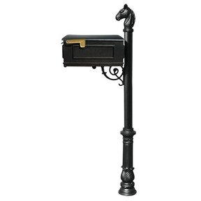 Lewiston Equine Mailbox with Post, Horsehead Finial, and Ornate Base, Black