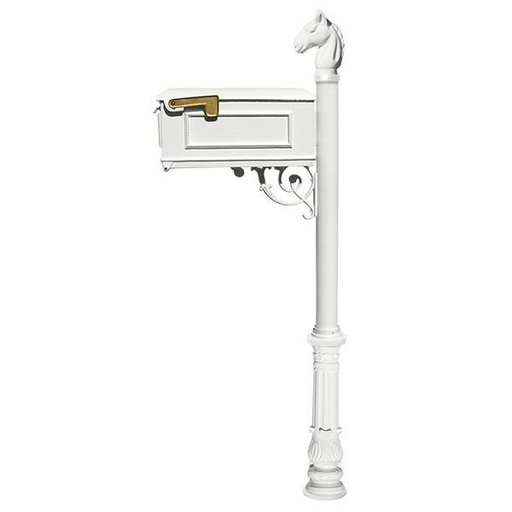 View a Larger Image of Lewiston Equine Mailbox with Post, Horsehead Finial, and Ornate Base, White