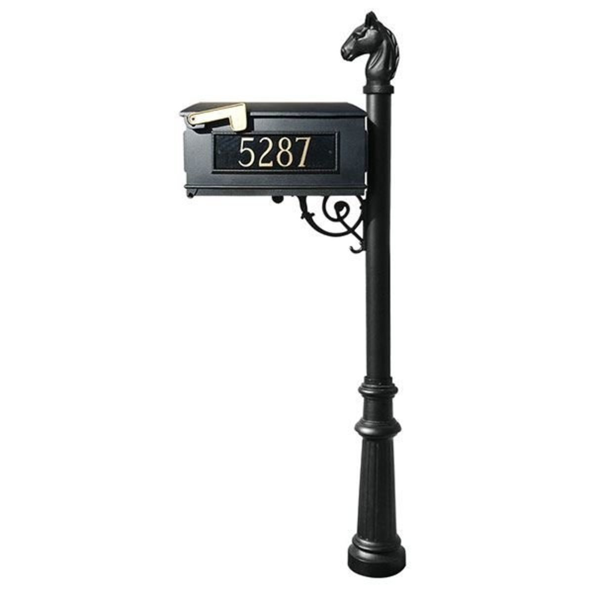 Superbe View A Larger Image Of Lewiston Equine Mailbox With Post, Horsehead Finial,  Fluted Base