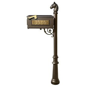 Lewiston Equine Mailbox with Post, Horsehead Finial, Fluted Base and Fleur-de-Lis Front Plate, Bronze with Gold Letterin