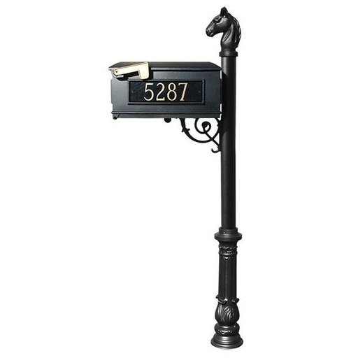View a Larger Image of Lewiston Equine Mailbox with Post, Horsehead Finial, Ornate Base and Fleur-de-Lis Front Plate, Black with Gold Lettering