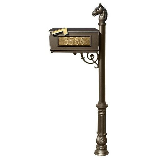 View a Larger Image of Lewiston Equine Mailbox with Post, Horsehead Finial, Ornate Base and Fleur-de-Lis Front Plate, Bronze with Gold Letterin