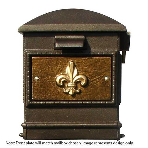 View a Larger Image of Lewiston Equine Mailbox with Post, Horsehead Finial, Ornate Base and Fleur-de-Lis Front Plate, Bronze with Gold Lettering