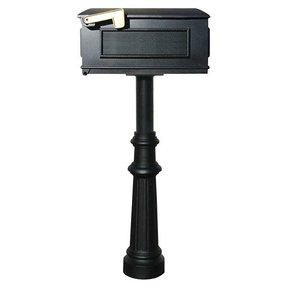 Lewiston Mailbox with Hanford Post and Fluted Base, Black