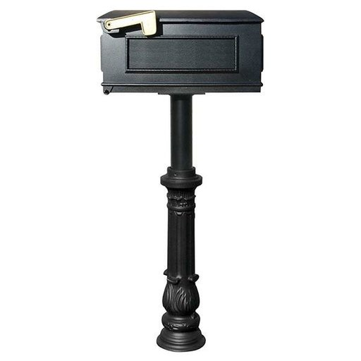 View a Larger Image of Lewiston Mailbox with Hanford Post and Ornate Base, Black