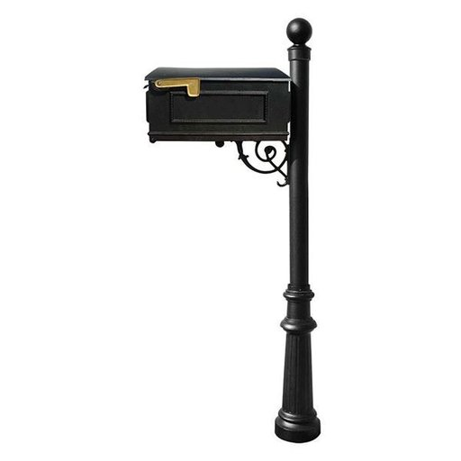 View a Larger Image of Lewiston Mailbox with Post, Ball Finial, and Fluted Base, Black