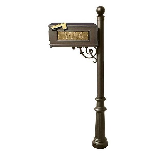View a Larger Image of Lewiston Mailbox with Post, Ball Finial, and Fluted Base, Bronze with Gold Lettering