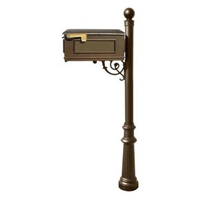 Lewiston Mailbox with Post, Ball Finial, and Fluted Base, Bronze