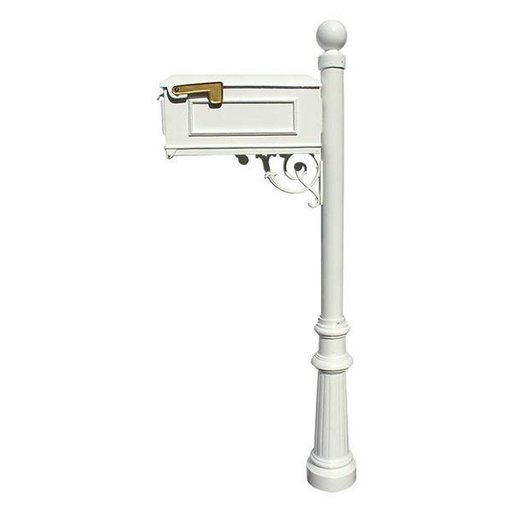 View a Larger Image of Lewiston Mailbox with Post, Ball Finial, and Fluted Base, White