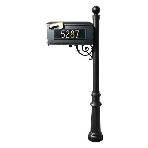View a Larger Image of Lewiston Mailbox with Post, Ball Finial, Fluted Base and Fleur-de-Lis Front Plate, Black with Gold Lettering