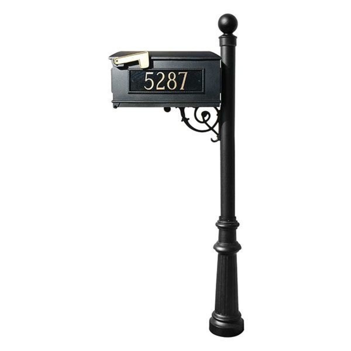 Picture of: Qualarc Lewiston Mailbox With Post Ball Finial Fluted Base And Fleur De Lis Front Plate Black With Gold Lettering