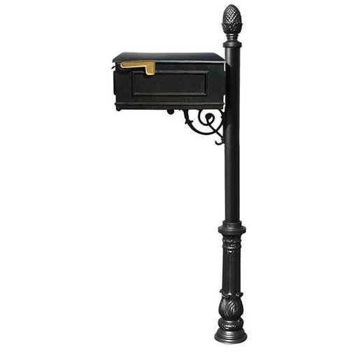View a Larger Image of Lewiston Mailbox with Post, Pineapple Finial, and Ornate Base, Black
