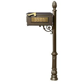 Lewiston Mailbox with Post, Pineapple Finial, and Ornate Base, Bronze with Gold Lettering