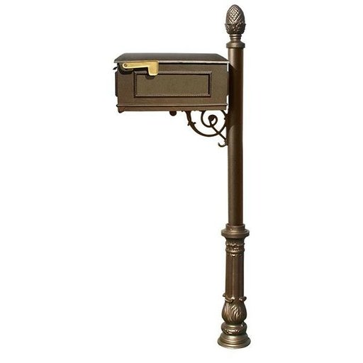 View a Larger Image of Lewiston Mailbox with Post, Pineapple Finial, and Ornate Base, Bronze