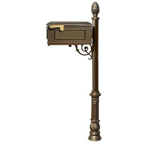 Lewiston Mailbox with Post, Pineapple Finial, and Ornate Base, Bronze