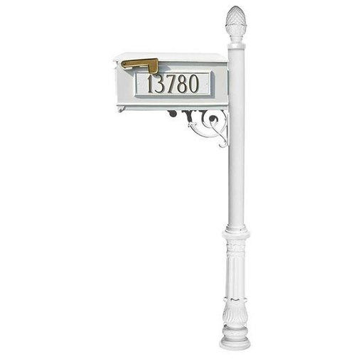 View a Larger Image of Lewiston Mailbox with Post, Pineapple Finial, and Ornate Base, White with Gold Lettering