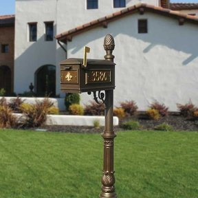 Lewiston Mailbox with Post, Pineapple Finial, Ornate Base and Fleur-de-Lis Front Plate, Bronze with Gold Lettering