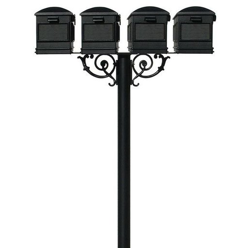 View a Larger Image of Lewiston Mailboxes with Hanford Quadruple Post and Support Braces, Black