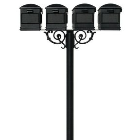 Lewiston Mailboxes with Hanford Quadruple Post and Support Braces, Black