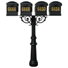 Lewiston Mailboxes with Hanford Quadruple Post, Support Braces, and Fluted Base, Black