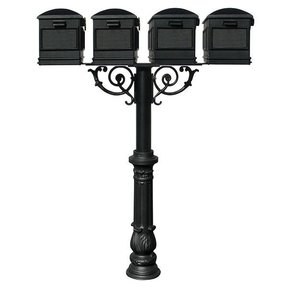 Lewiston Mailboxes with Hanford Quadruple Post, Support Braces and Ornate Base, Black
