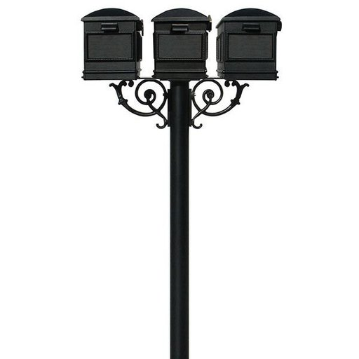 View a Larger Image of Lewiston Mailboxes with Hanford Triple Post and Support Braces, Black