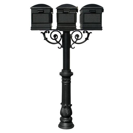 View a Larger Image of Lewiston Mailboxes with Hanford Triple Post, Support Braces and Ornate Base, Black
